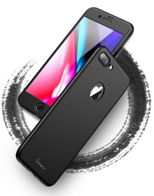 Чехол силиконовый для iphone 5, 6, 6plus, 7, 7plus с закаленным стеклом